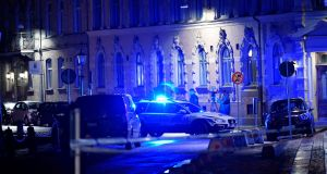 Police attend site of an attack near a synagogue in Gothenburg, Sweden, on December 9th. Photograph: Adam Ihse/Reuters