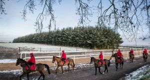 RIDING HOME FOR CHRISTMAS: Horses on the gallops at the launch of the Leopardstown Christmas Festival at Jessica Harrington's yard in Co Kildare. Photograph: Morgan Treacy/Inpho