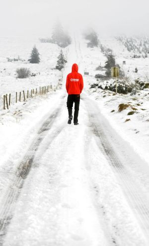 WINTER WONDERLAND: A man walking in the Slieve Bloom Mountains, near Kinnitty, Co Offaly. Photograph: James Flynn/APX