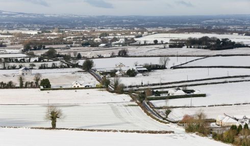 SNEACHTA: Snow-covered fields around Ballycarroll townland in Aghnahily, Co Laois. Photograph: Niall Carson/PA Wire