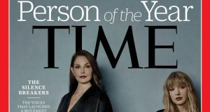 "Time magazine's Person of the Year cover. ""Time's term 'silence breakers' is an interesting one, as many of the women profiled by the magazine had broken their silence many times in the past."""