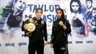 WBA lightweight world champion Katie Taylor with challenger Jessica McCaskill at the pre-fight press conference. Photo: James Crombie/Inpho