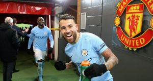 Nicolas Otamendi of Manchester City celebrates in the tunnel after their win over Manchester United. Photo: Victoria Haydn/Man City via Getty Images