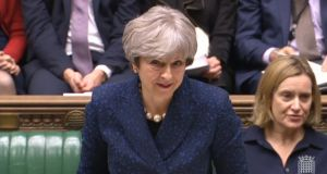 British prime minister Theresa May gives a statement on Brexit in the House of Commons, London. Photograph: PA Wire