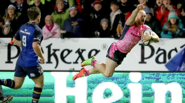 James Short scores a try during the Champions Cup clash. Photo: Dan Sheridan /Inpho