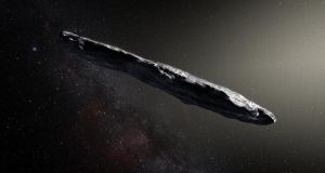 Undated  image issued by the European Southern Observatory of an artist's impression showing a huge cigar-shaped object assumed to be an interstellar asteroid. Photograph: ESO/M Kornmesser/PA Wire