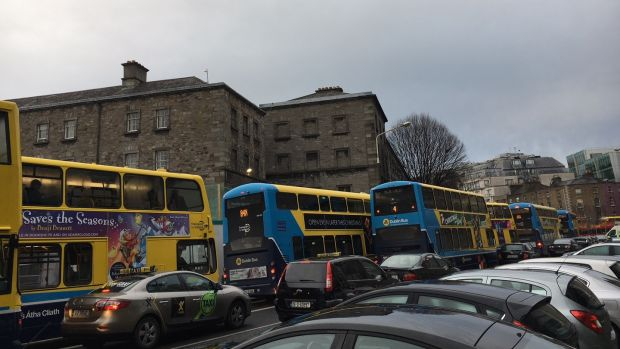Traffic congestion on Pearse Street. Photograph: Jack Power
