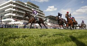 Pádraig Beggy riding Wings Of Eagles  wins the Derby at Epsom in June. Photograph:   Alan Crowhurst/Getty Images