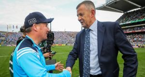 John Costello and Jim Gavin after this year's All-Ireland SFC final. Photograph: Ryan Byrne/Inpho