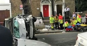 The scene of the crash on Adelaide Road in Dublin in August. Photograph: Jeremy Crain