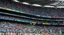 Dublin and Mayo parade before the start of the TG4 Ladies'  All-Ireland final at  Croke Park in September. Photograph: Ryan Byrne/Inpho