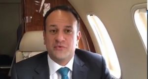 Taoiseach Leo Varadkar in a screengrab from a  video filmed on board the Government jet.