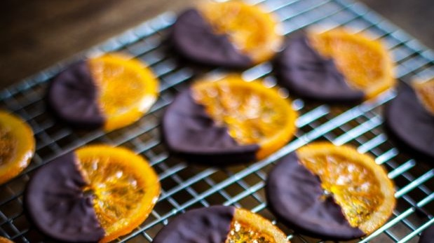 Donal Skehan's chocolate dipped candied oranges with sea salt.