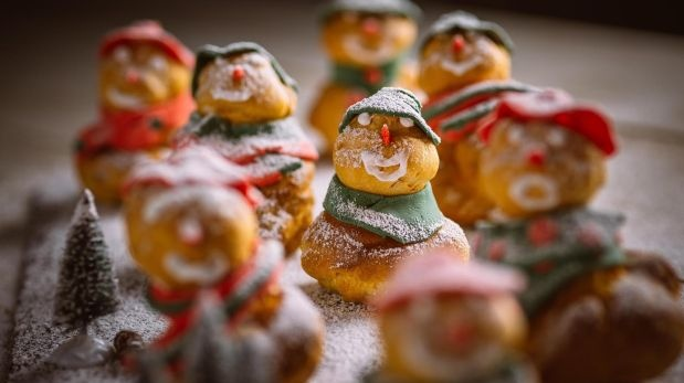 Eunice Power's choux snowmen, filled with cream