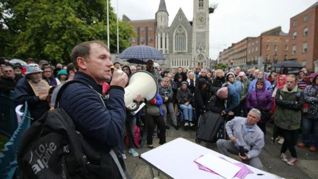 People Before Profit TD Gino Kenny speaking at a demonstration in support of medicinal cannabis being made available. Picture Nick Bradshaw