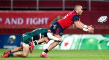 Munster's Simon Zebo is tackled by Jonny May of Leicester Tigers during their Champions Cup clash last weekend. Photo: Dan Sheridan/Inpho