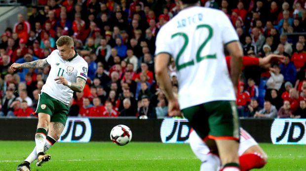James McClean scores Ireland's winning goal in the World Cup qualifier against Wales at Cardif City stadium in October. Photograph: James Crombie/Inpho