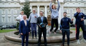 Minister for Education Richard Bruton and Taoiseach Leo Varadkar at the launch of the new Leaving Cert PE exam. Also pictured are students Conal Kehoe, Emma Crumlish, Ciara Rooney, Bernard Brogan, Dublin GAA footballer; and Mark Winters. Photograph: Maxwell Photography