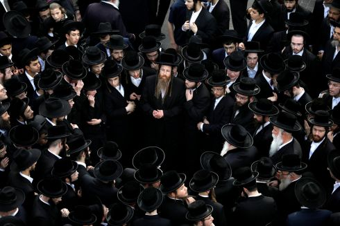 JEWISH SEND-OFF: Ultra-Orthodox Jews gather during a funeral ceremony for prominent spiritual leader Rabbi Aharon Yehuda Leib Shteinman, who died on Tuesday at the age of 104, in Bnei Brak near Tel Aviv, Israel. Photograph: Amir Cohen/Reuters