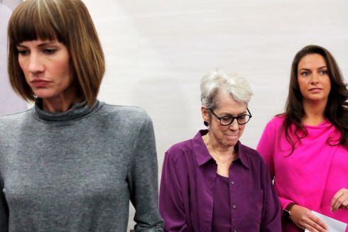 TRUMP ACCUSERS: Rachel Crooks (left), a former receptionist in Trump Tower; Jessica Leeds and Samantha Holvey, a former Miss North Carolina, exit a news conference for the film 16 Women and Donald Trump which focuses on women who have publicly accused the US president of sexual misconduct, in Manhattan, New York.  Photograph: Andrew Kelly/Reuters