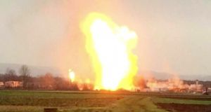 Flames from the explosion that  ripped through Austria's main gas pipeline hub on Tuesday killed one person and injured 21 others. Photograph: Nonstopnews via AP