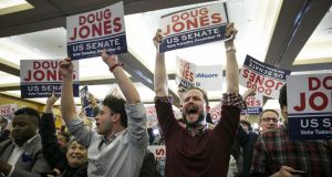 Supporters of Democratic candidate Doug Jones celebrate his Senate election win in Birmingham, Alabama. Photograph: Nicole Craine/Bloomberg