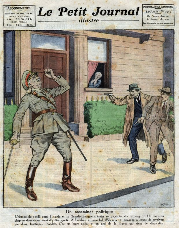 Assassination of Field Marshall Henry Hughes Wilson (1864-1922) by two volunteers of the IRA, in London, on the front page of French newspaper Le Petit Journal Illustre, July 2nd, 1922. Image: Leemage/UIG via Getty Images