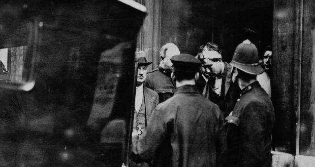 The arrest of Reginald Dunne and James Connolly immediately after the assassination by two IRA gunmen of the British Field Marshal Henry Wilson. His assassination helped spark off the Irish Civil War. Photograph: Topical Press Agency/Getty Images