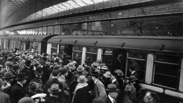 May 1923: Irish deportees boarding trains at London's Waterloo station. They are being deported in connection with IRA activities. Photograph: Topical Press Agency/Getty Images