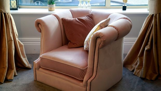 Daly's favourite piece is an old armchair she had reupholstered in blush pink velvet. Photograph: Nick Bradshaw