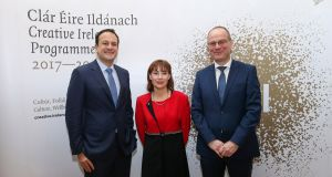 The Taoiseach Leo Varadkar, Minster for Culture Josepha Madigan, and Tibor Navracsics, EU Commissioner for Education, Culture Youth and Sport at the inaugural Creative Ireland Forum in Dublin Castle. Photograph: Maxwell