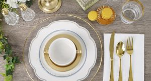 Caterhire's gold-rimmed classic dinnerware range, including glasses, costs €65 for a party of 10.