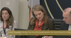 Senator Catherine Noone (Fine Gael) chairwoman of the Oireachtas  Committee on the Eighth Amendment speaks to committee officials during its meeting on Wednesday.