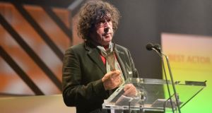 Stephen Rea with his award for best actor at The Irish Times Irish Theatre awards. Photograph: Cyril Byrne / The Irish Times