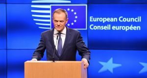 Sharp differences are likely to re-emerge over EU migration policy in a debate proposed by European Council president Donald Tusk, whose letter to leaders setting out the agenda has prompted serious recriminations. File photograph: Geert Vanden Wijngaert/AP Photo