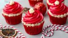 Vanessa Greenwood's Christmassy red velvet cupcakes. Photograph: Harry Weir Photography