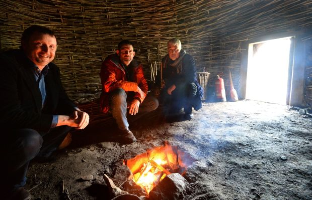 Jason O'Brien (left), Bill Schindler and Aidan O'Sullivan at the Centre for Experimental Archaeology and Material Culture at UCD. Photograph: Dara Mac Dónaill