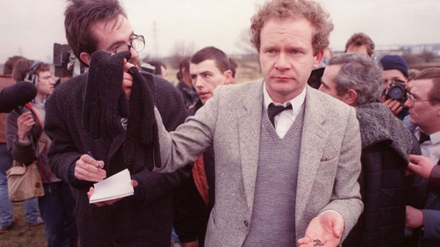 Martin McGuinness with Michael Stone's gloves and bullets after the loyalist attacked the funerals of republicans Mairead Farrell, Sean Savage and Danny McCann in Millotwn cemetery. Photograph: Pacemaker