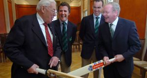 First and Deputy First Ministers Ian Paisley and Martin McGuinness  with Ireland's cricket captain Trent Johnston and  bowler Kyle McCallen in Stormont in honour of their  exploits at the Cricket World Cup. Photograph: Charles McQuillan/Pacemaker