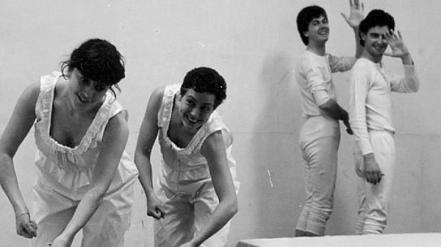 A rehearsal shots of Beds, which was performed in the Dublin Theatre Festival in 1982