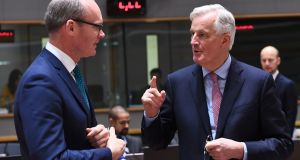 Michel Barnier with Tánaiste Simon Coveney: leaked report highlighted sharp criticisms of London from other European Union states. Photograph: Emmanuel Dunand/AFP/Getty