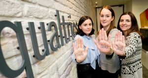 Qualtrics staff Caitlin Callaghan, Aisling McNamara and Sarah Argue launching the campaign Five for the Fight. Photograph: Chris Bellew/Fennell Photography