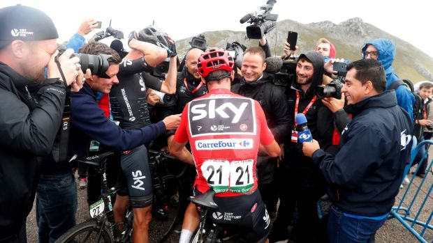 Froome of Sky team addresses the media at the end of the 20th stage of the Vuelta a Espana this year. Photo: Javier Lizon/EPA