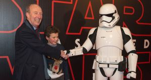 The premiere of Star Wars: The Last Jedi took place at the Savoy cinema in Dublin last night where Minister for Transport Shane Ross and his grandson Edward Webb went down a storm. Photograph: Dave Meehan/The Irish Times