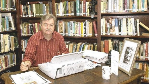Poet Fred Johnston at work at the Princess Grace Irish Library in Monaco, September 2004