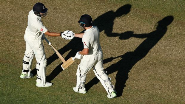Dawid Malan (L) and Jonny Bairstow put on 174 on the opening day in Perth. Photograph: Paul Kane/Getty