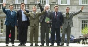 Dan Boyle, second right, with other newly elected Green Party TDs at Leinster House in 2002: Paul Gogarty, Eamon Ryan, Trevor Sargent, John Gormley and Ciaran Cuffe. Photograph: Frank Miller