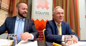 Michael Barron,  of Equate, with Richard Bruton, Minister for Education, at an event earlier this year. Mr Barron says more needs to be done to ensure children are treated equally in our school system. Photograph: Cyril Byrne