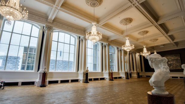 The newly renovated Shaw Room in the National Gallery of Ireland. Its four big windows, designed for the room's original use, as a sculpture court, have been unblocked. Photograph: Brenda Fitzsimons