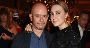 "Nick Hornby with Saoirse Ronan: ""She's the best young actress in the world at the moment, and she's smart enough to avoid all the pitfalls that young actresses face when it comes to choosing material,"" HE SAYS.  Photograph: Dave Benett/Getty"
